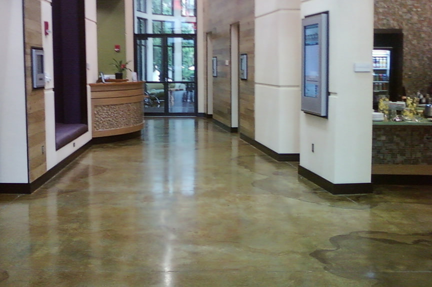 Stained Concrete Floor Front Lobby Office Building Frisco, TX