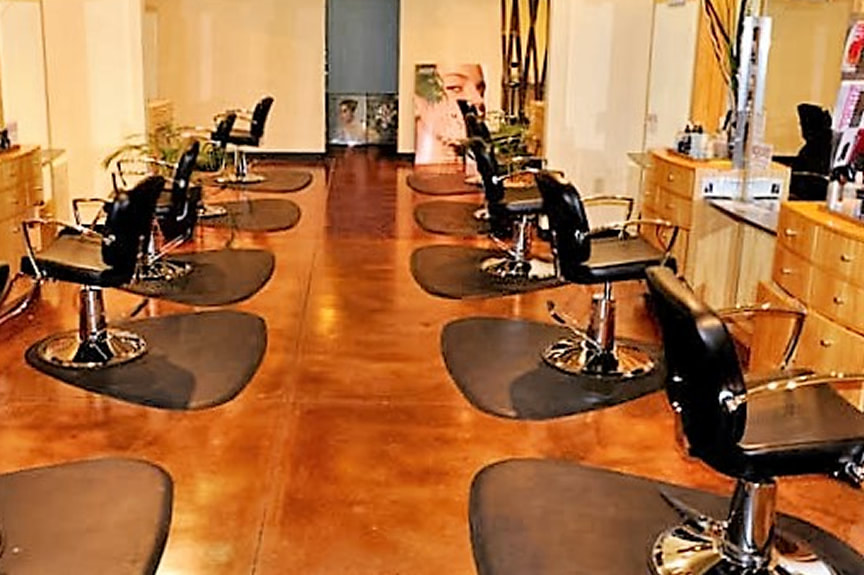 Stained Concrete Floor in Hair Salon