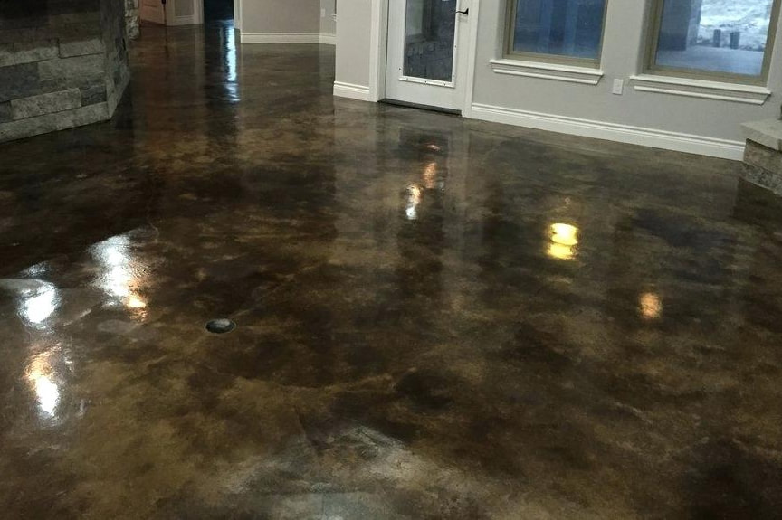 Acid Stained Concrete New Home Construction Little Elm, Texas